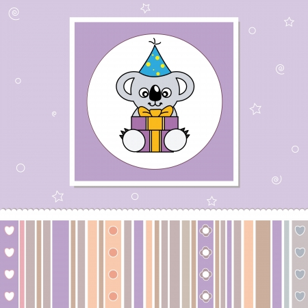 Birthday card. Koala with a gift Vector