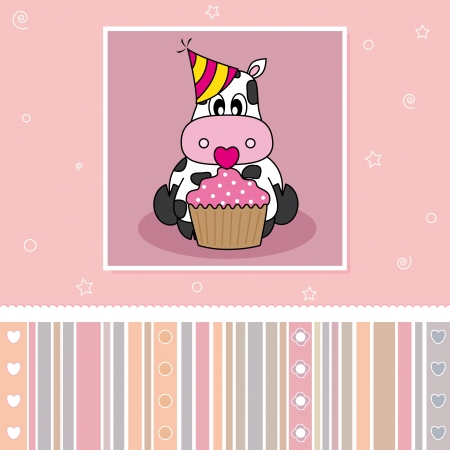 Birthday card. Cow with a cupcake Vector