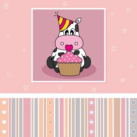 animalitos tiernos: Tarjeta de cumpleaños. Vaca con una magdalena