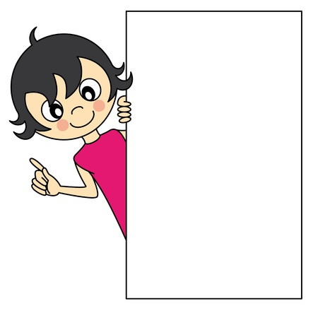 Little girl with a blank sign