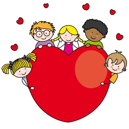 Group of children with a heart Stock Vector - 17459351