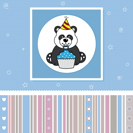 Greeting Card. Bear with a cupcake Vector