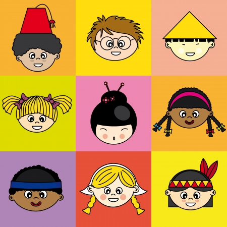 racial: Children of different ethnicities. faces