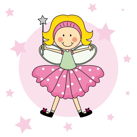cartoon fairy: Child Fairy with a magic wand