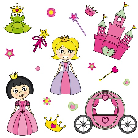 costumes: illustration of princess design elements.