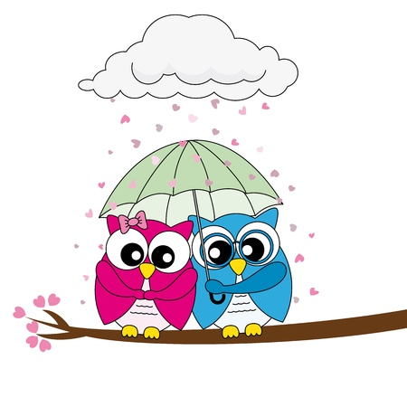 Valentine Card. owls in love Vector