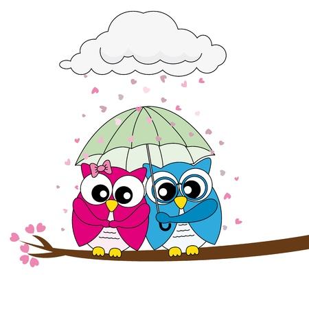 couple in rain: Valentine Card. owls in love Illustration