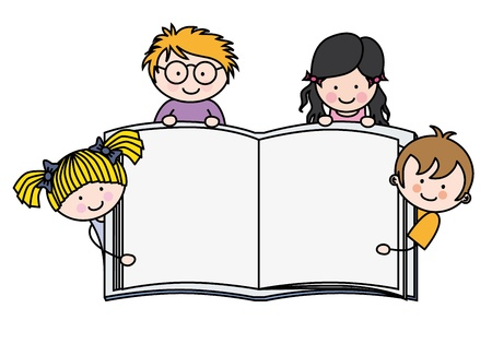 test glass: children with a book with blank pages