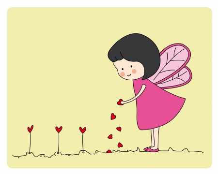 Fairy planting hearts Vector