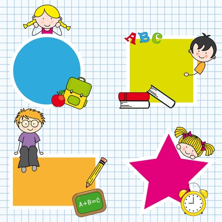 baby stickers: Education and school icon set. Space for text