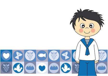 Eerste communie Uitnodiging Card.Boy Vector Illustratie