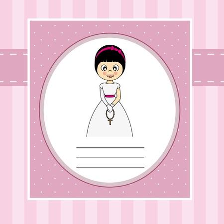 confirmacion: Invitación Primera Comunión Tarjeta de la muchacha
