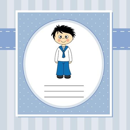 Eerste communie Uitnodiging jongen Vector Illustratie
