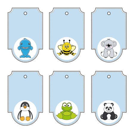 bee party: Cartoon animals labels set
