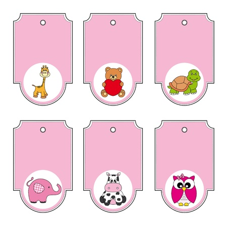 giraffe frame: Cartoon animals labels set