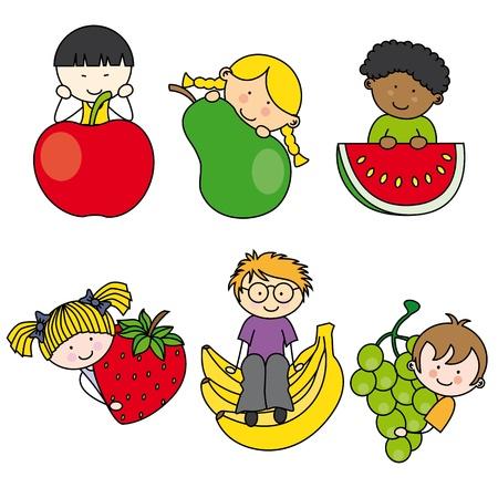 Children with fruits Vetores