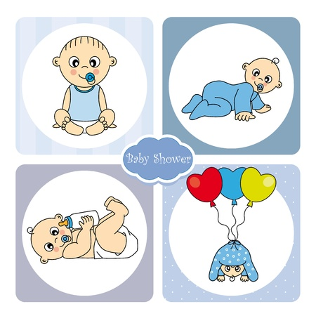 crawling baby: Baby boy arrival announcement card Illustration