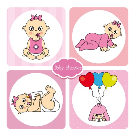 crawling baby: Baby girl arrival announcement card Illustration