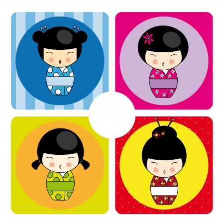 Kokeshi dolls in various designs Stock Vector - 18632132