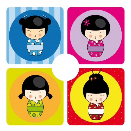 Kokeshi dolls in various designs Illustration