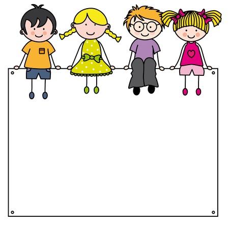sch�ler: Cute cartoon kids Rahmen