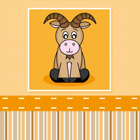 baby goat: Greeting Card. ibex Illustration