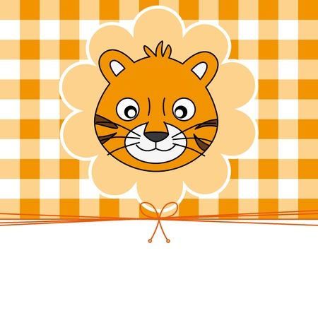 cute baby girl: Greeting Card. Tiger