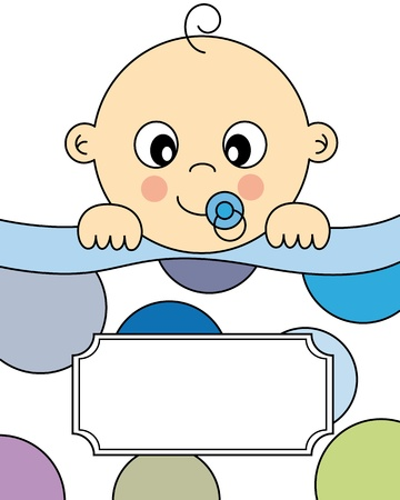 christening: Baby boy arrival announcement card Illustration