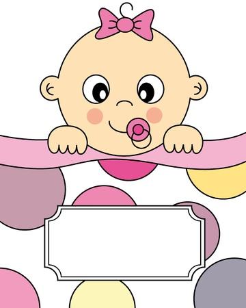 bautizo: Chica llegada del beb� anuncio de la tarjeta