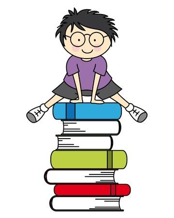 children reading: Boy jumping some books Illustration