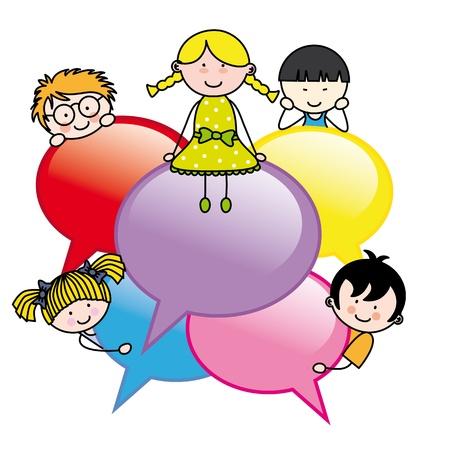 dialogo: Los niños con burbujas de diálogo Vectores