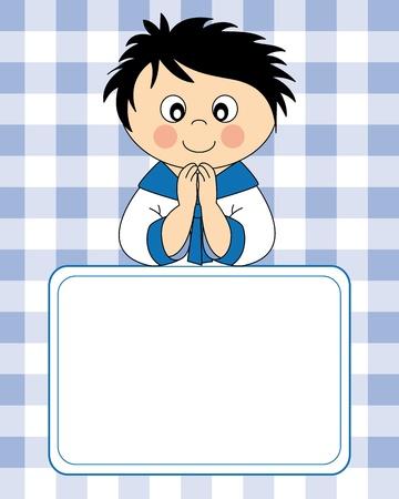 vormsel: Eerste Heilige Communie uitnodigingskaart. Jongen Stock Illustratie