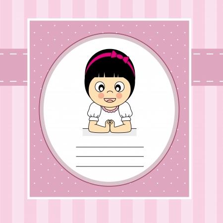 comunion: Primera tarjeta de invitación de la comunión. Chica Vectores