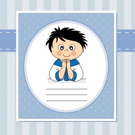 comunion: Primera tarjeta de invitación de la comunión. Chico Vectores