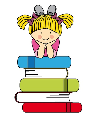 humor jump: Little girl with many books. fun illustration of back to school