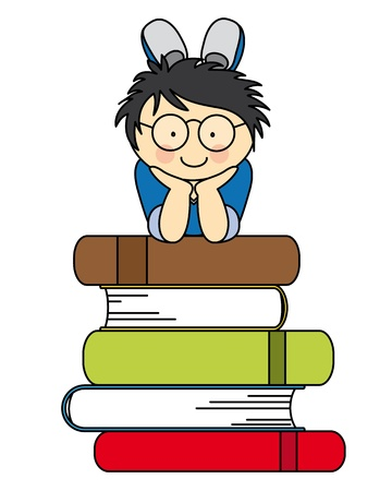 student reading: boy with many books. fun illustration of back to school Illustration