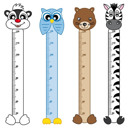 meter: Bumper children meter wall. Animals Stickers Illustration