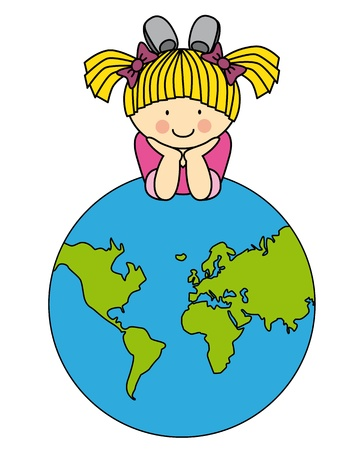 child room sticker. Girl with a globe Vector
