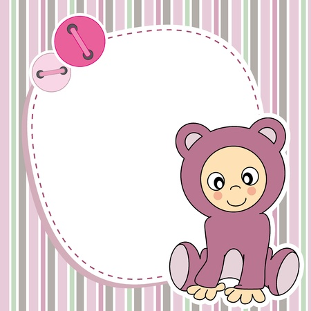 Framework for baby girl  Space for photo or text  Vector
