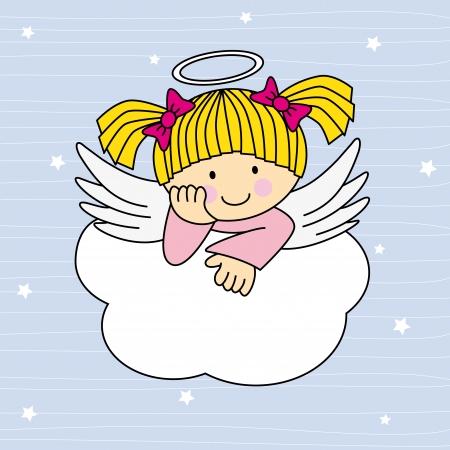 angeles bebe: Alas de ?ngel en una nube. Tarjeta de felicitaci?n