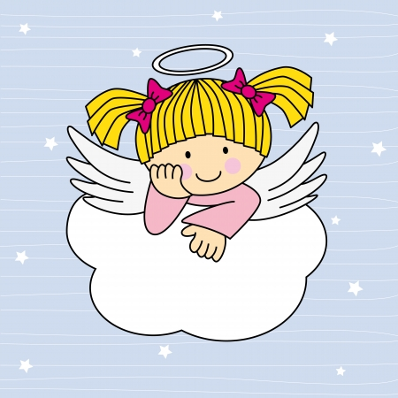 Angel wings on a cloud. Greeting card Stock Vector - 19376142