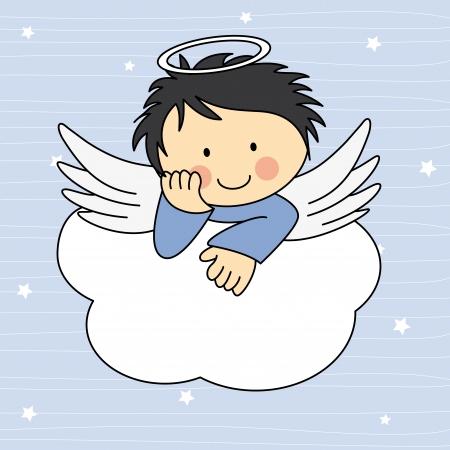comunion: Alas de ángel en una nube. Tarjeta de felicitación