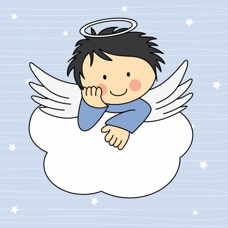 Angel wings on a cloud. Greeting card Vector