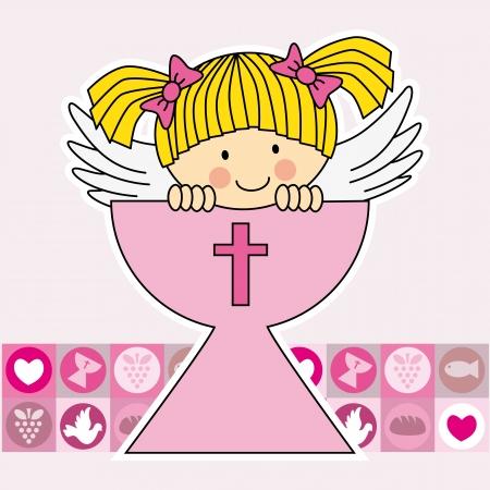 confirmacion: Ángel en el santo grial. Primera tarjeta de la comunión Vectores