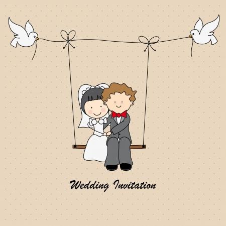 net getrouwd: bruiloft uitnodiging Stock Illustratie
