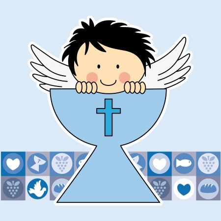 Angel in the holy grail. First communion card Vector