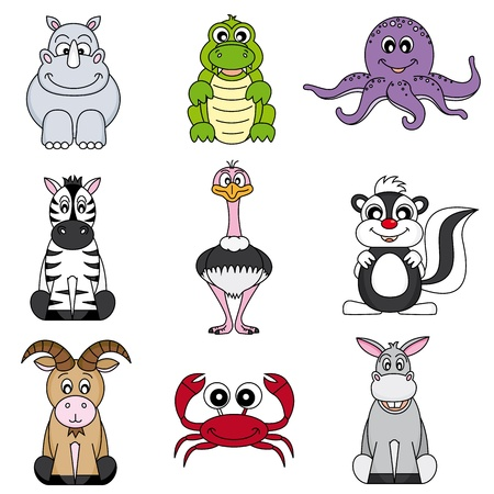 Cartoon animals and pets Vector