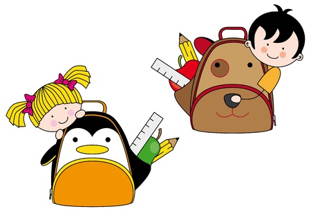 Children with backpacks for school shaped dog and penguin Vector