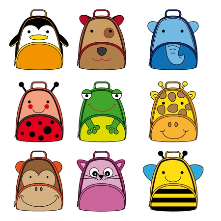backpacks for school children  animal shaped backpacks Vector