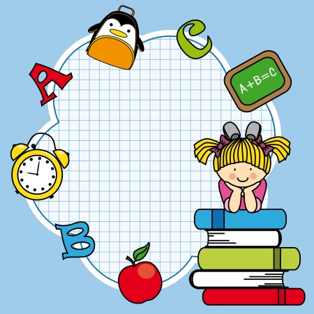 baby on board: Education and school icon set. Space for text. Girl and books Illustration